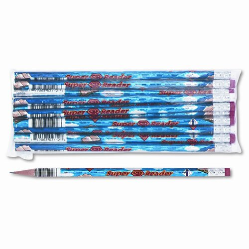 Decorated Wood Pencil, Super Reader, 12/Pack