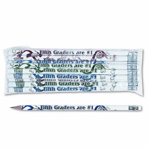 Moon Products Decorated Wood Pencil, Fifth Graders Are #1, 12/Pack