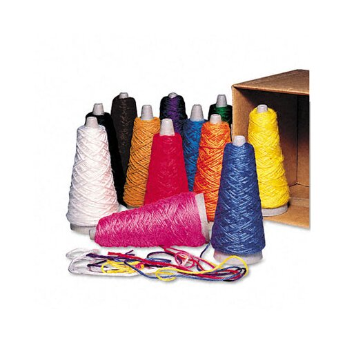 Pacon Corporation Trai-Tex Double Weight Yarn Cones, 2-oz., 12 Assorted Color Cones per Carton