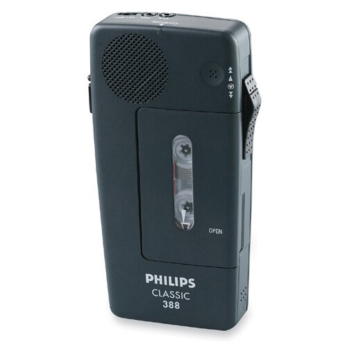 "Philips Speech Processing 388 Cassette Mini Dict Recorder, 2-13/32""x1""x5"", Black"