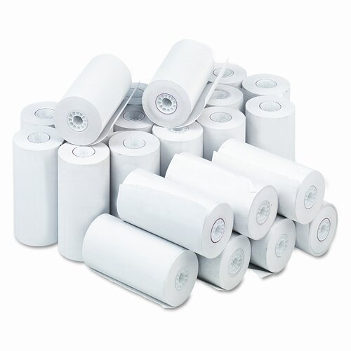 "PM Company Single-Ply Thermal Cash Register / Pos Roll, 4-9/32"" X 115 Ft., 25/Carton"