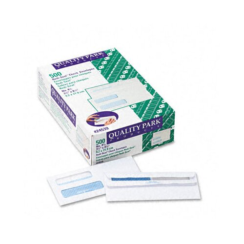 Quality Park Products Double Window Tinted Redi-Seal Invoice and Check Envelope, #8, White, 500/box