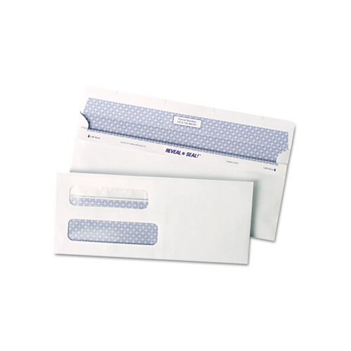 Quality Park Products Reveal-N-Seal Double Window Check Envelope, Self-Adhesive, White, 500/box
