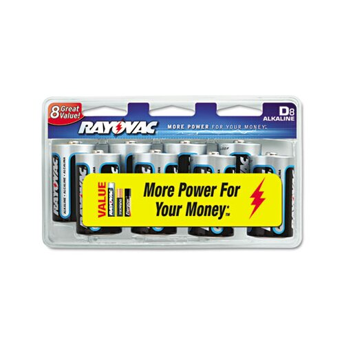 Rayovac® D Alkaline Battery, 8/Pack