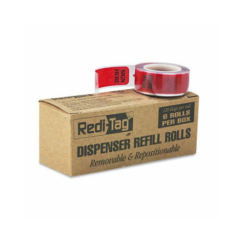 "Redi-Tag Corporation ""Sign Here"" Printed Message Arrow Flag Refill, 6 Rolls of 120 Flags/Box"