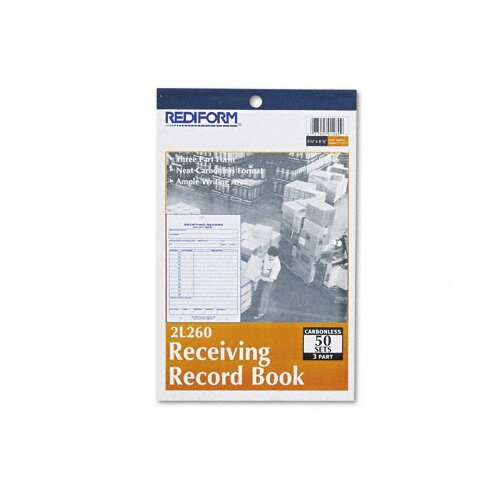 Rediform Office Products Receiving Record Book, 50 Sets/Book