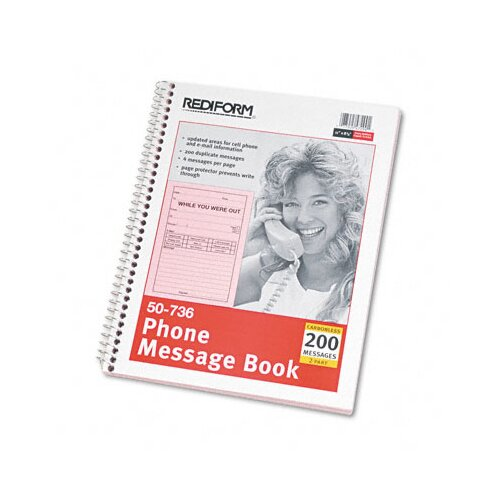 Rediform Office Products Wirebound Message Book, 200 Sets/Book
