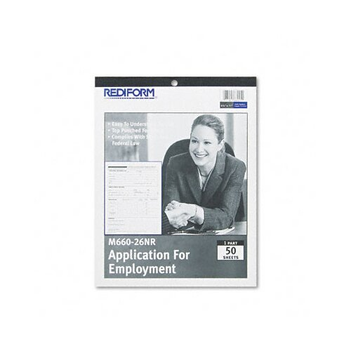 Rediform Office Products Application for Employment, 8-1/2 x 11, 50-Form Pad