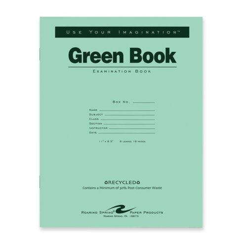 """Roaring Spring Paper Products Exam Book, Wide Ruled, 8/Sheets, 11""""x8-1/2"""", Green"""