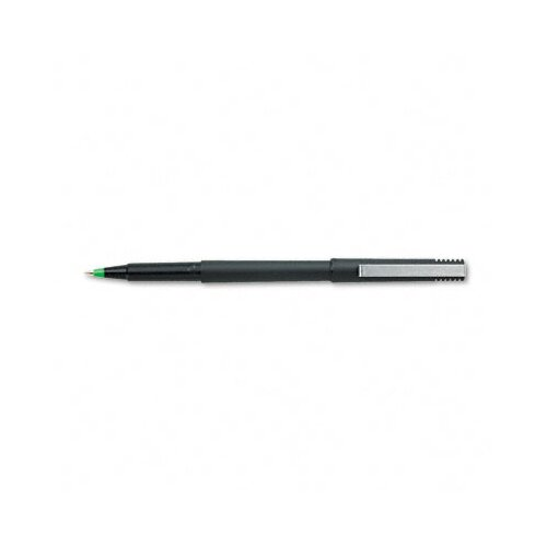 Sanford Ink Corporation Stick Roller Ball Pen, Black Matte Barrel, Green Ink, Micro Fine, 0.50 mm