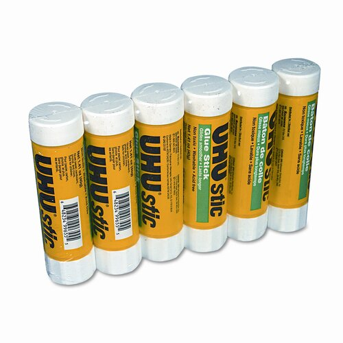 Saunders Manufacturing UHU Stic Permanent Clear Application Glue Stick, 1.41 oz, 6/pack