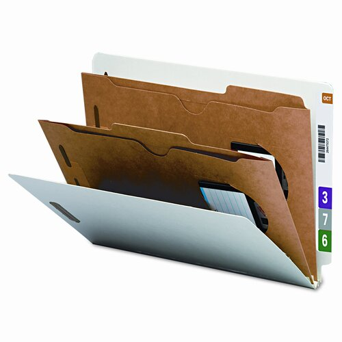 Smead Manufacturing Company Six-Section Pressboard Classification End Tab Folder, Pockets, 10/Box