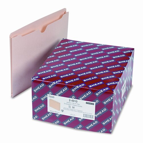 """Smead Manufacturing Company 2-Ply Top File Jackets with 1"""" Accordion Expansion, 50/Box"""