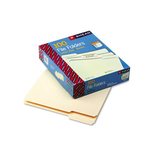 Smead Manufacturing Company 1/3 Cut Assorted One-Ply Top Tab File Folders, 100/Box
