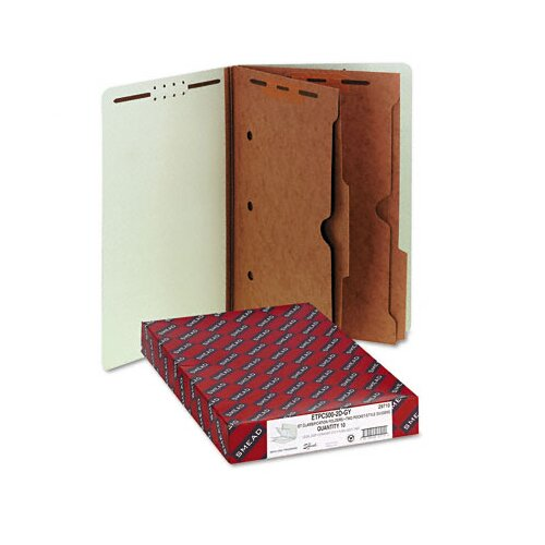 Smead Manufacturing Company Six-Section Pressboard Classification End Tab Folders, Pockets, 10/Box