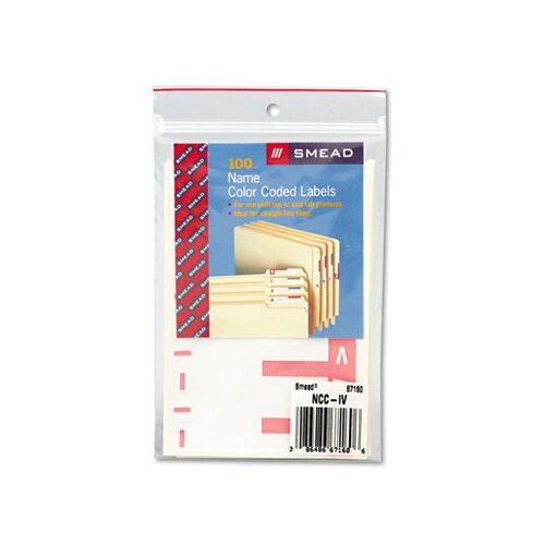 Smead Manufacturing Company Alpha-Z Color-Coded First Letter Name Labels, A & N, Red, 100/Pack
