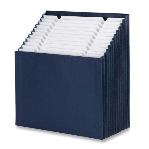 "Smead Manufacturing Company Stadium File, 12-1/4""x13-5/8""x9-1/8"", 12 Pkt, Navy Blue"