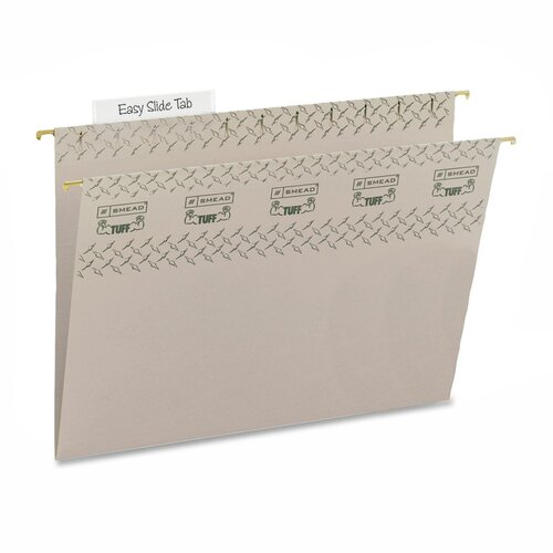Smead Manufacturing Company Tuff Hanging Folder w/Easy Slide Tab, Letter, Green, 18/Pack
