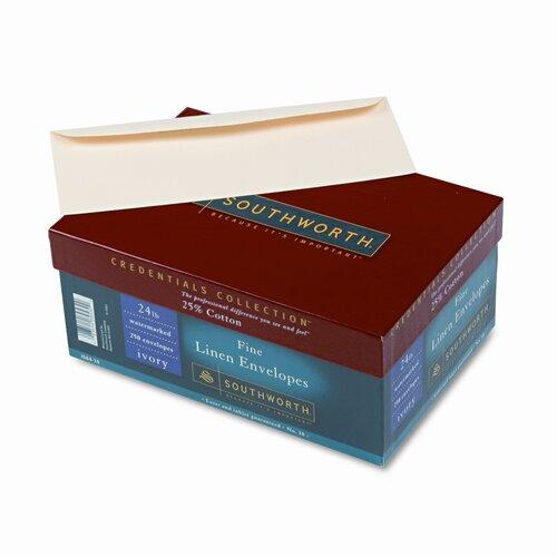 Southworth Company 25% Cotton #10 Envelope, 24 Lbs., Linen, 250/Box, Fsc