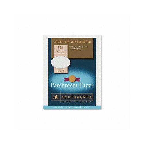 Southworth Company Colors + Textures Fine Parchment Paper, Ivory, 32lb, Letter, 250 per Box