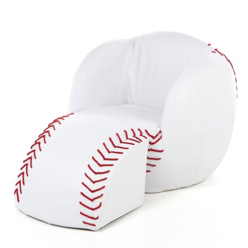 Baseball Kid's Novelty Chair and Ottoman Set