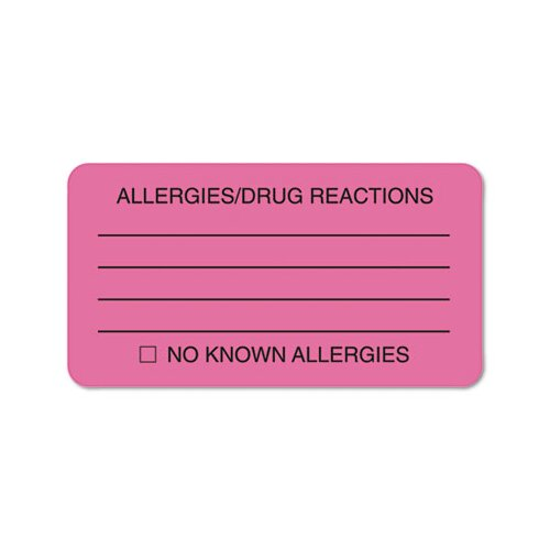 Tabbies Allergies/Drug Reaction Labels, 3-1/4 x 1-3/4, Fluor Pink, 250 per Roll
