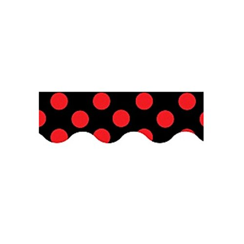 Teacher Created Resources Red Polka Dots On Black Border Trim