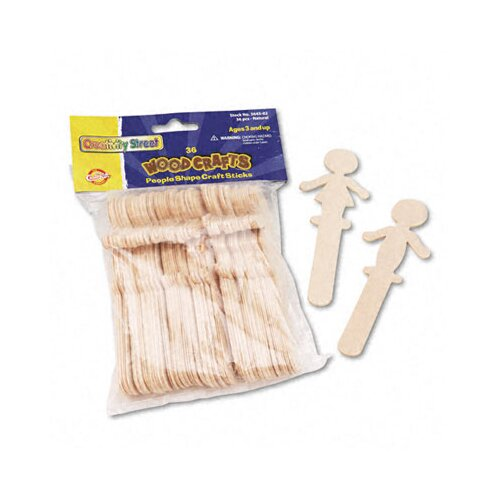 The Chenille Kraft Company People-Shaped Wood Craft Sticks, 36/Pack