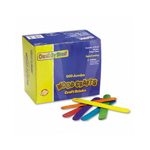 The Chenille Kraft Company Colored Wood Craft Sticks Jumbo, 500/Box