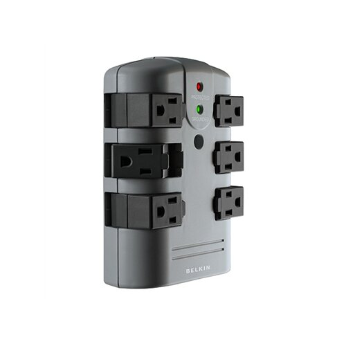 Belkin Surge Protector, Wall Mountable, 6 Rotating Outlets, 1080 Joules, Gray