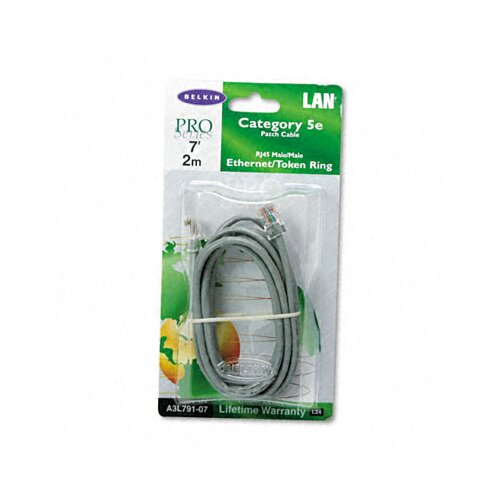 Belkin Cat5e 10/100 Base-T Patch Cable, Crimped, 7ft