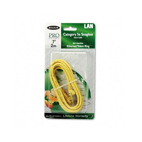Belkin Cat5e 10/100 Base-T Patch Cable, Snagless, 7ft, Yellow