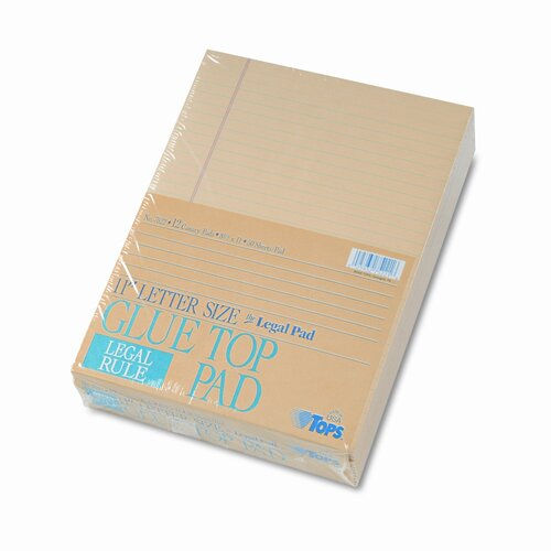 Tops Business Forms Glue Top Ruled Pads, Legal Rule, 8-1/2 x 11, 50 Sheets, 12-Pack
