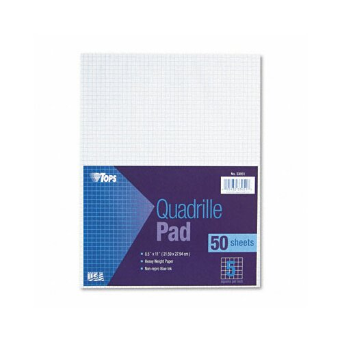 Tops Business Forms Quadrille Pads, 5 Squares / Inch, 50 Sheets / Pad