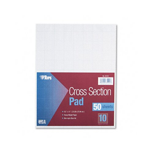 Tops Business Forms Section Pads with 10 Squares, Quadrille Rule, Letter, 50 Sheets/Pad