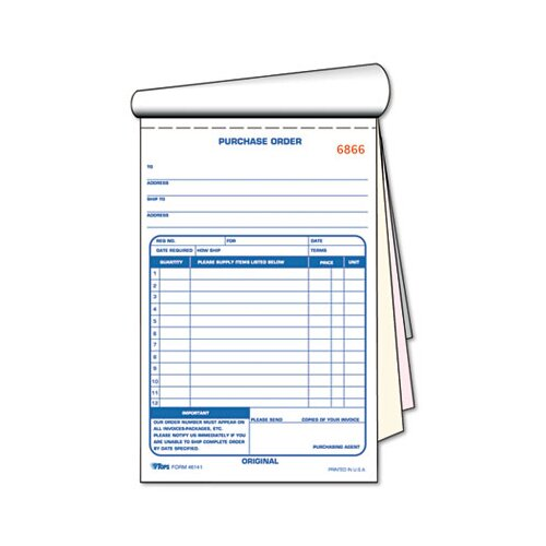 Tops Business Forms Purchase Order Book, Three-Part Carbonless, 5-9/16 X 7 15/16, 50 Sets/Book