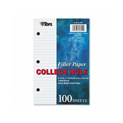 Tops Business Forms Filler Paper College Rule, 100/Pack
