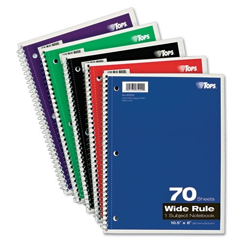 Tops Business Forms Wirebound 1-Subject Notebook, Wide Rule, 70 Sheets/Pad