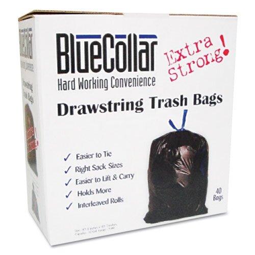 Unisan  Bluecollar Drawstring Trash Bags, 80/Box