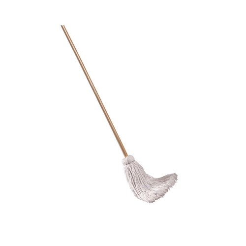 Unisan Deck Mop with Wooden Handle in White