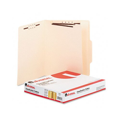 Universal® Manila Classification Folders, Letter, Six-Section, 15/Box