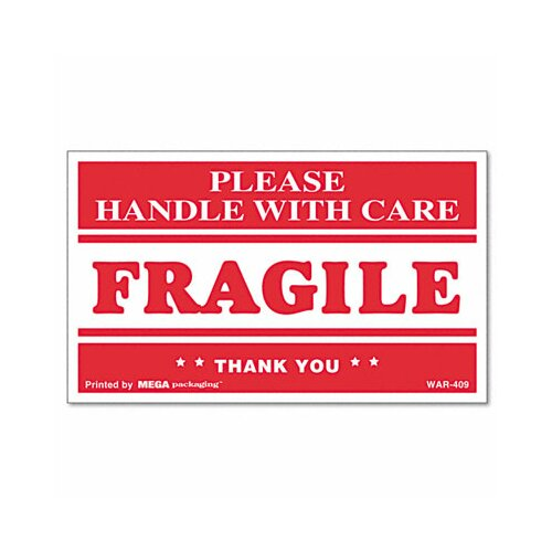 Universal® Fragile Handle with Care Self-Adhesive Shipping Labels, 500/Roll