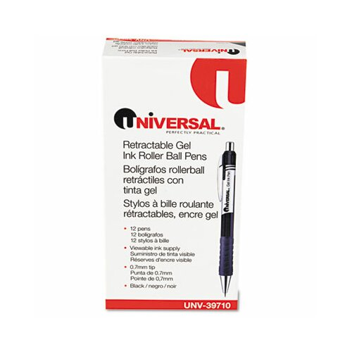 Universal® Roller Ball Retractable Gel Pen, 12/Pack