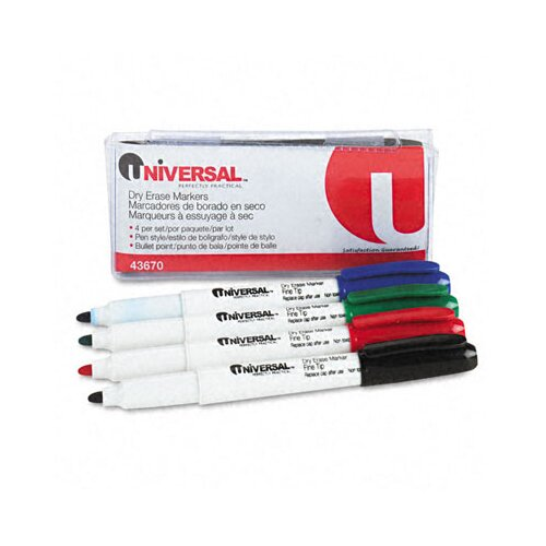 Universal® Pen Style Dry Erase Markers, 4/Pack
