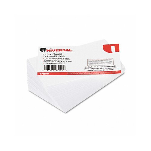 Universal® Unruled Index Cards, 3 x 5, White, 100 per Pack