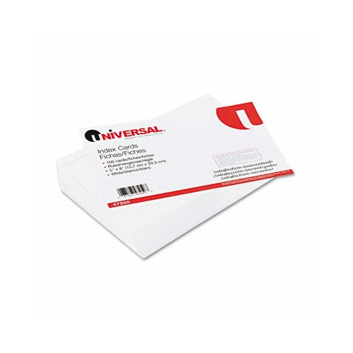 Universal® Ruled Index Cards, 5 x 8, White, 100 per Pack