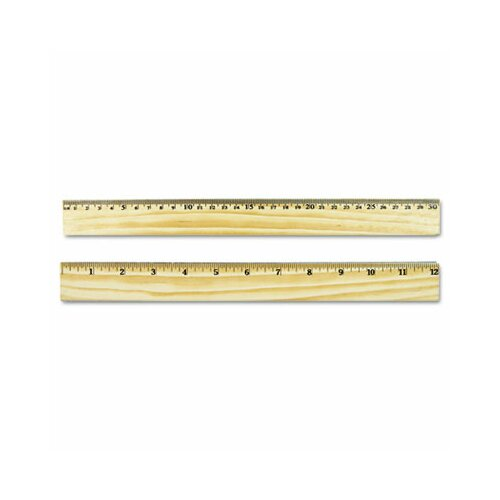 Universal® Flat Wood Ruler W/Double Metal Edge