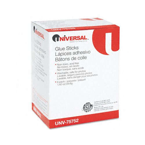 Universal® Permanent Glue Stick, 6/Pack