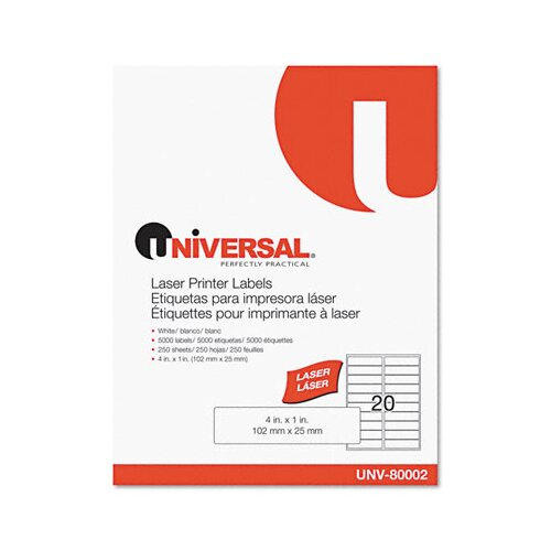Universal® Laser Printer Permanent Labels, 5000/Box