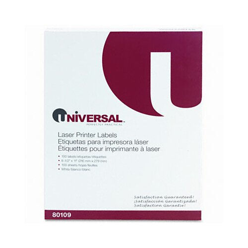 Universal® Laser Printer Permanent Labels, 100/Box